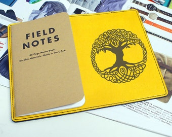 Field Notes Leather Cover - Tribal Tree of Life - Customizable - Free Personalization