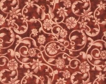 Rust Fabric Orange Fabric Floral Fabric Orange on Orange 4 1/2 Yards Swirl Fabric Blender Cotton Quilting Fabric Sewing Supplies YacketUSA