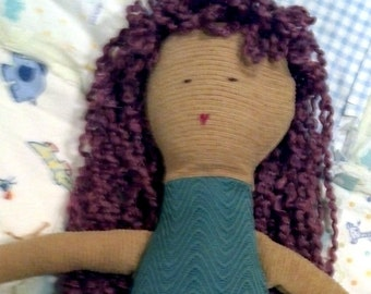 Teal Cloth Doll with Purple Hair