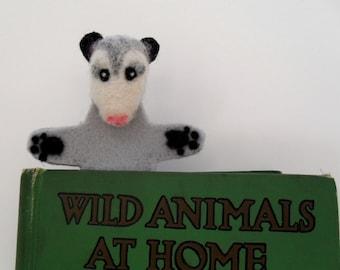 Felted possum bookmark, needle felted animal bookmark