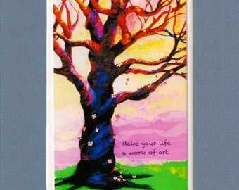 """Make Your Life a Work of Art-Blue Butterfly Tree-8""""x10"""" Blue Double Mat-5""""x7"""" Original Art Print by SQ Streater"""