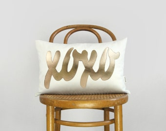 White and Gold Word Pillow | XOXO Decorative Pillow Case, Cushion Cover, 12x18 inches / 30x45 cm lumbar size | Unique Monogrammed gifts