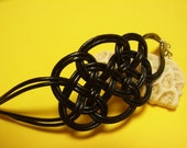 Chinese Knot Bracelet, by Natural Leather Rope, Black