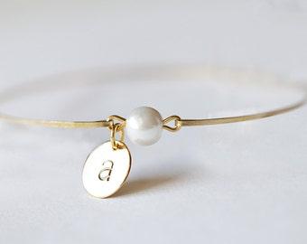 White Pearl Monogrammed Bracelet, Pearl Initial Bangle, Gold Initial Bracelet, Pearl Bridesmaids Initial Bracelet, Bridal Pearl Initial