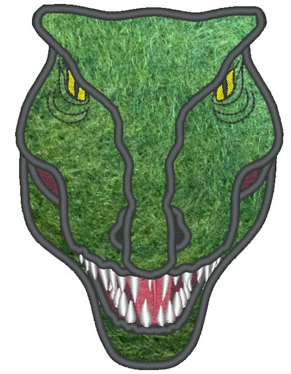 Rex Dinosaur Face Machine Embroidery Applique And Fil 519x666