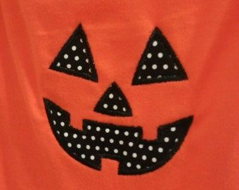 SALE Jack O'Lantern Pumpkin face onesie for boys or girls 12 month - Ready to ship