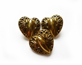 Vintage Antique Gold Heart Buttons