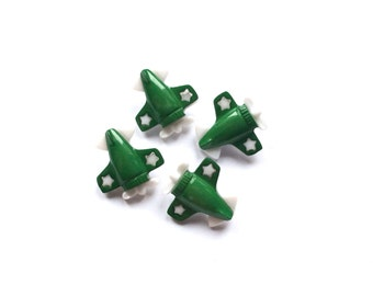 4 Green kids Buttons, Airplane, Star
