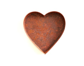 Rusty Heart Tin Heart Pan . country wedding favors . tea light holder . metal heart . diy rustic wedding decor . rustic heart