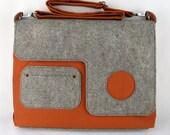 Organic Laptop Bag in rust orange, eco friendly bag with wool felt