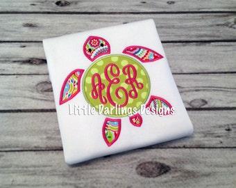 Girls Whimsical Monogrammed Turtle Shirt