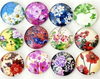 12pcs Handmade  Round Glass Tranparent   Cabochon   Flower  Series Size 12mm/14mm/16mm/18mm/20mm/25mm