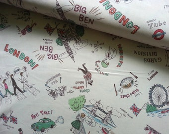 Japanese Fabric Cotton, London Fabric, Soldier Fabric, Retro Fabric, Quirky Fabric, Yuwa Fabric, Designer Prints/Go! London Beige/a yard