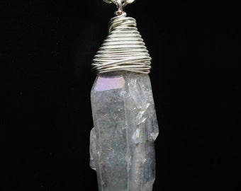 Purple Quartz Stone Wire Wrapped Silver Plated Pendent Necklace