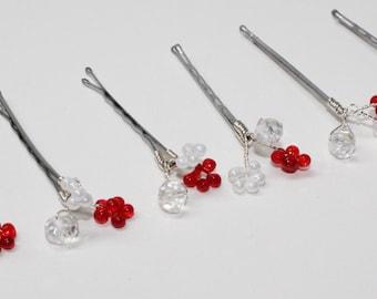 Red and Pearl Like Bridal Hair Pins Crystals - Set of 6, Bridal Hair Pins, Bridal Wedding Hair Pins, Flower Girl Hair Pins