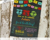 fiesta birthday invitation mexican fiesta uno Papel Picado chalkboard first birthday bash gender neutral (item 234) shabby chic invitation