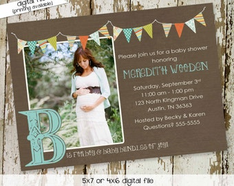baby boy shower invitation maternity ultrasound photo b is for boy sprinkle couples coed evite diaper (item 1261) shabby chic invitation