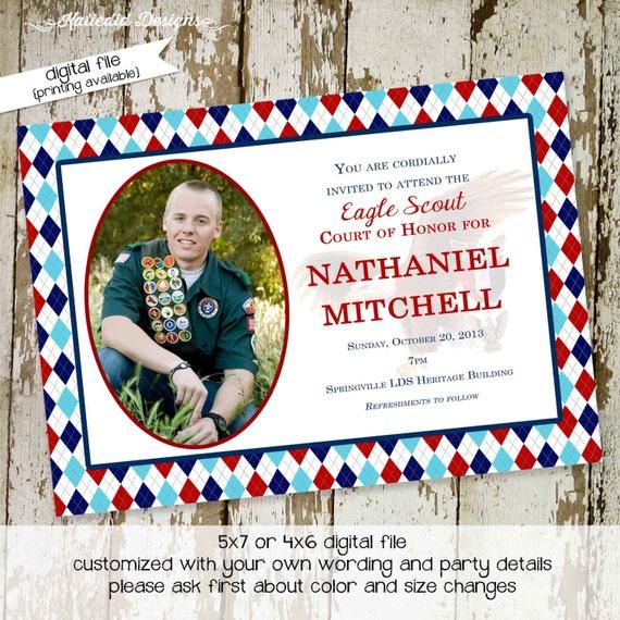 eagle scout court of honor invitations graduation announcement argyle patriotic red white blue scout troop baptism christening (item 604)