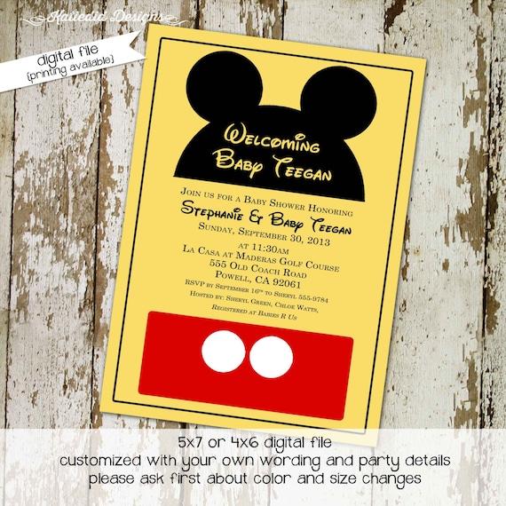 mickey mouse birthday invitation disney baby shower diaper shower baby