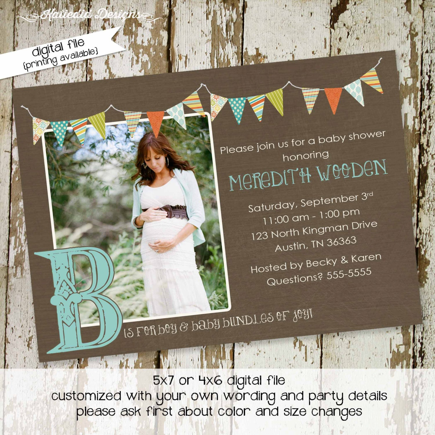 sonogram pregnancy announcement b is for baby invite rustic baby ...
