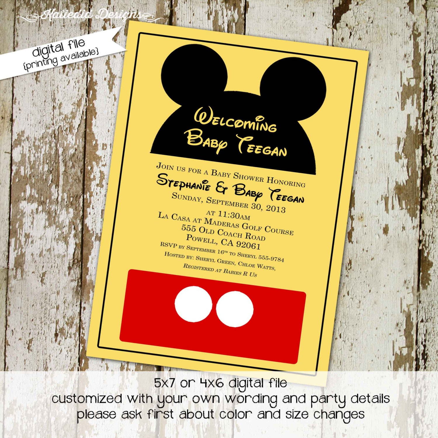 Mickey Mouse Birthday Invitation Disney Themed Baby Shower Surprise Gender  Reveal Little Girl 1st Birthday Invitation 1406 Katiedid Designs