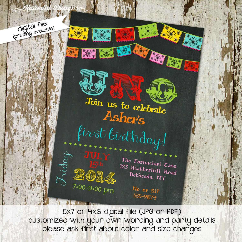 Fiesta Birthday Invitation Papel Picado Uno Day Of The Dead Cinco