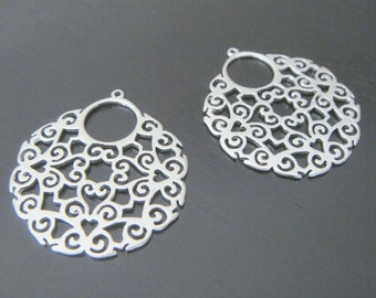 Matte Silver Multiple Circle Basket Oriental Connector, Pendants, Charms, Earring Findings, 2 pc, S56281