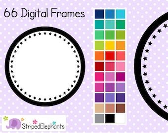 Star Circle Digital Frames 1 - Clip Art Frames - Instant Download - Commercial Use