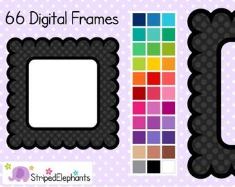Polka Dot Scalloped Square Digital Frames 2 - Clip Art Frames - Instant Download - Commercial Use