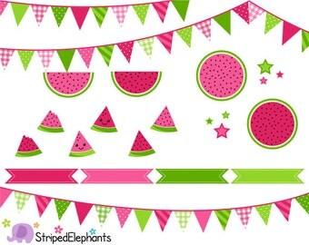 Watermelon Clip Art - Digital Clipart - Instant Download - Commercial Use