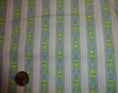 Green Frogs in stripes and dots on Light Blue BTY By The Yard baby babies boys