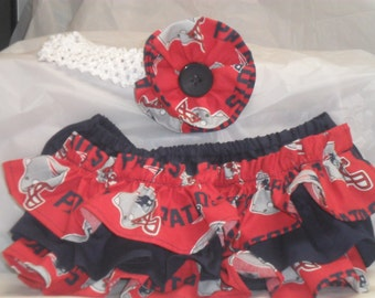 New England Patriots colors Ruffle Bloomers with Matching Headband  Set --  Football girl - Patriots baby -  New England Patriots  -