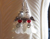 Angel Earrings 5-Petal Ivory Flower Acrylic Bead with Red Czech Glass bead, 4 mm White Glass Pearl, Silver Wings French Hook Love