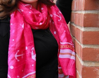 Anchor Scarf- Hot Pink