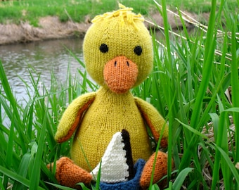 Bertie the duckling - hand knit stuffed animal with sail boat, ready to ship, nautical nursery, shower gift