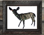 SALE : Doe In Bark - Animal Silhouette Wall Art - Woodland Theme Lodge, Nursery, Home Decor