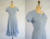 Vintage 1940s Dress / Blue and White Gingham Picnic Dress / Ruffled Hem / Small