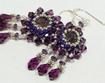 Beaded Earrings Beadwork , Amethyst Earrings , Swarovski Crystal Beaded Earrings Seed Bead Earrings