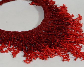 Coral Necklace Beadwork Necklace Coral Beadweaving with Seed Beads Choker Necklace Fringe Necklace