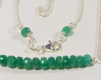 Colombian Emerald Birthstone Necklace Natural Emerald Necklace Sterling Silver Wire wrapped Necklace Bar Necklace