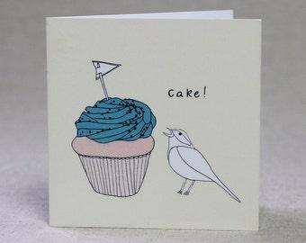Cheeky Cupcake and Bird Birthday Card SALE