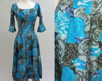 1950s SUZY PERETTE Cocktail Dress Lovely Silk Blue and Green Roses Medium