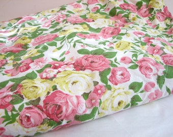 Vintage Standard Size Quilted Zippered Pillow Protector, Cover, Sham, Pillow Tick ... Pink and Yellow Roses, Cottage Chic