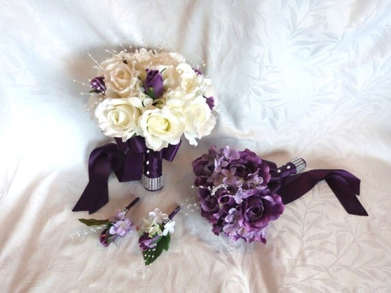 Bridal Bouquet Bridesmaid Bouquet Purple Roses Lilac Hydrangea