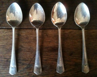 Antique Detailed 4 Tea Spoons Cutlery Flatware Silverware circa 1910's / English Shop