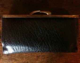 Vintage English Black Leather Purse Wallet circa 1970-80's / English Shop
