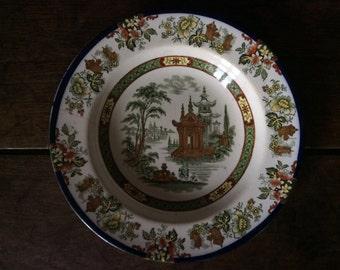 Vintage English blue green oriental deep dinner lunch plate circa 1920's / English Shop