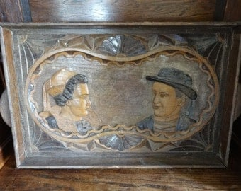 Vintage French Carved Wooden Tray circa 1920-40's / English Shop