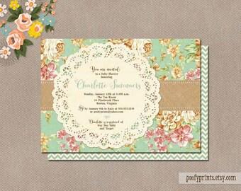 Shabby Chic Baby Shower Invitation / Printable Rustic Baby Girl Shower Invitation / Mint Green Floral Vintage Invitation // Charlotte