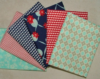 Miss Kate Navy Teal and Red Half Yard Bundle of 6 by Bonnie & Camille for Moda